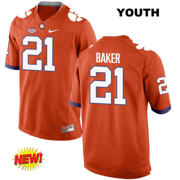 Adrian Baker Stitched Clemson Tigers Nike no. 21 Youth Orange New Style Authentic College Football Jersey - Adrian Baker Jersey