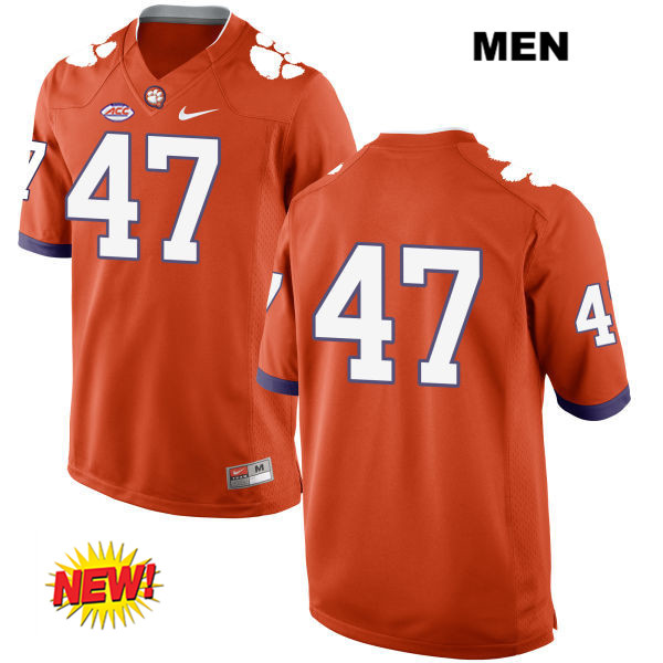 Alex Spence Clemson Tigers Nike no. 47 Mens Orange New Style Stitched Authentic College Football Jersey - No Name - Alex Spence Jersey