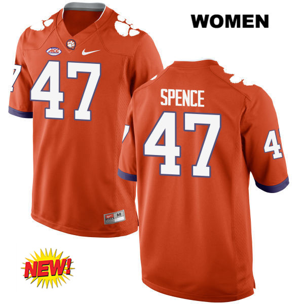 Stitched Alex Spence Clemson Tigers Nike no. 47 Womens Orange New Style Authentic College Football Jersey - Alex Spence Jersey
