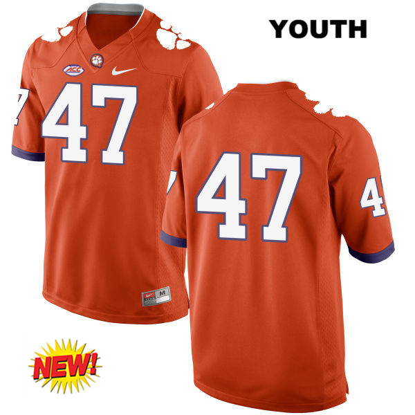 Alex Spence Stitched Clemson Tigers New Style no. 47 Youth Nike Orange Authentic College Football Jersey - No Name - Alex Spence Jersey
