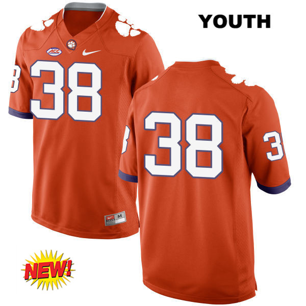 Amir Trapp Clemson Tigers New Style Stitched no. 38 Youth Orange Nike Authentic College Football Jersey - No Name - Amir Trapp Jersey