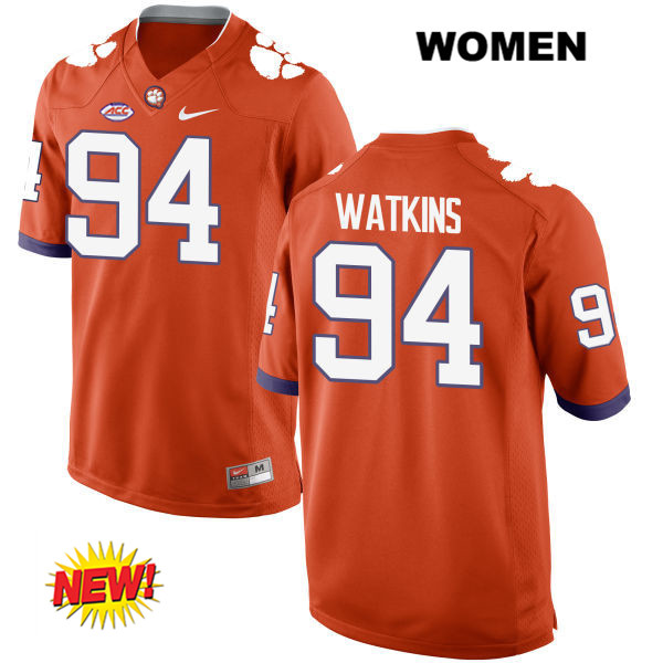 Carlos Watkins New Style Clemson Tigers no. 94 Stitched Womens Orange Nike Authentic College Football Jersey - Carlos Watkins Jersey