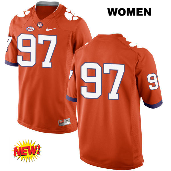 Carson King Clemson Tigers New Style Stitched no. 97 Womens Orange Nike Authentic College Football Jersey - No Name - Carson King Jersey