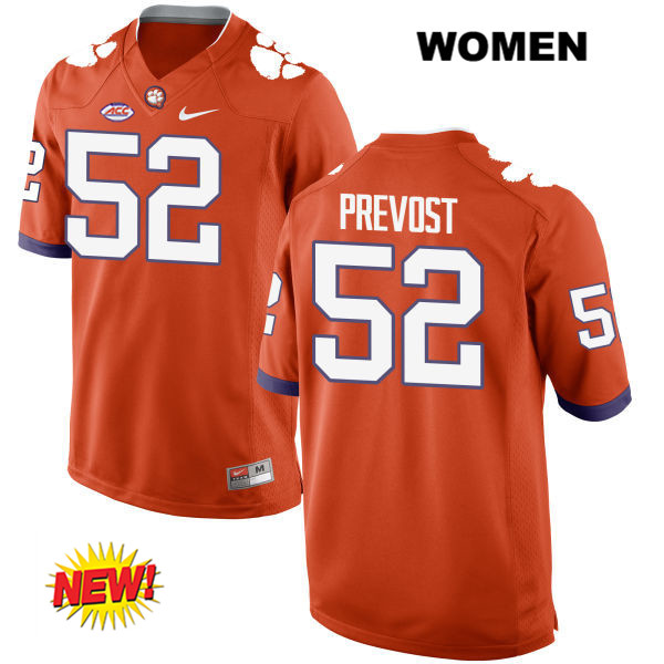 Connor Prevost Nike Clemson Tigers no. 52 Stitched Womens New Style Orange Authentic College Football Jersey - Connor Prevost Jersey