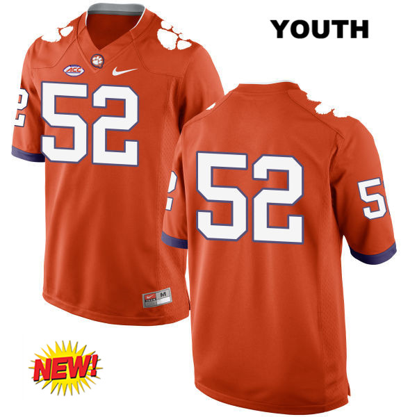Nike Connor Prevost Clemson Tigers New Style no. 52 Youth Orange Stitched Authentic College Football Jersey - No Name - Connor Prevost Jersey