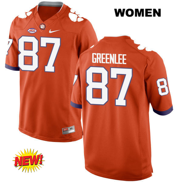 Nike D.J. Greenlee Stitched Clemson Tigers no. 87 Womens Orange New Style Authentic College Football Jersey - D.J. Greenlee Jersey