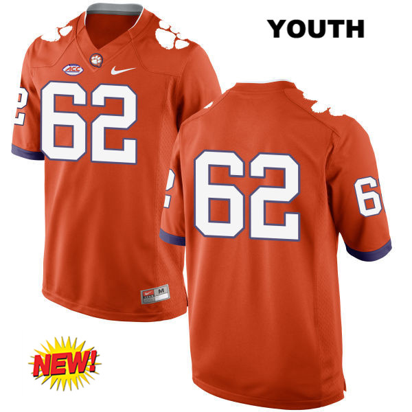 Nike David Estes Clemson Tigers Stitched no. 62 New Style Youth Orange Authentic College Football Jersey - No Name - David Estes Jersey