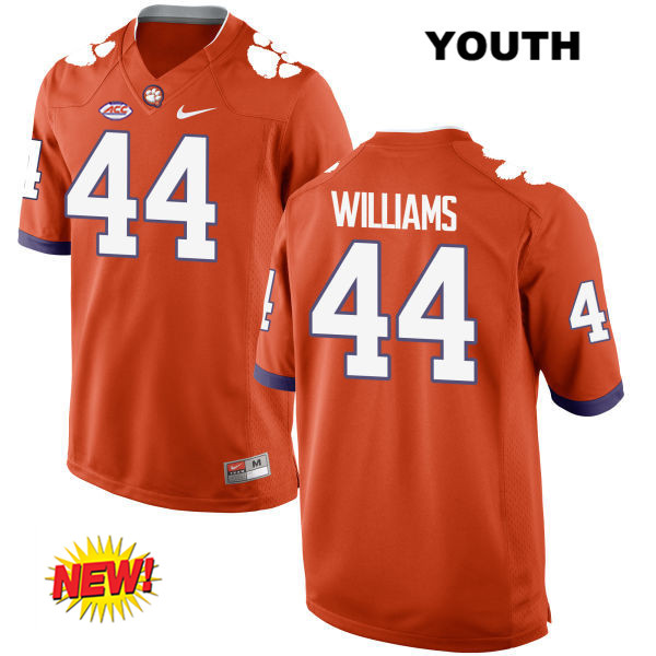 Nike Garrett Williams Clemson Tigers no. 44 Stitched Youth Orange New Style Authentic College Football Jersey - Garrett Williams Jersey