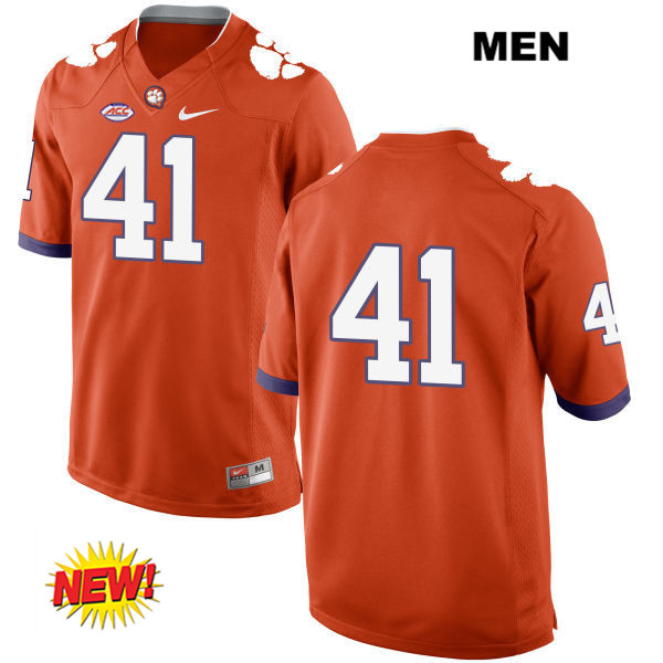 Grant Radakovich Clemson Tigers New Style no. 41 Stitched Mens Nike Orange Authentic College Football Jersey - No Name - Grant Radakovich Jersey