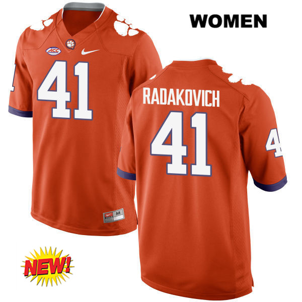 Grant Radakovich New Style Clemson Tigers no. 41 Womens Stitched Orange Nike Authentic College Football Jersey - Grant Radakovich Jersey