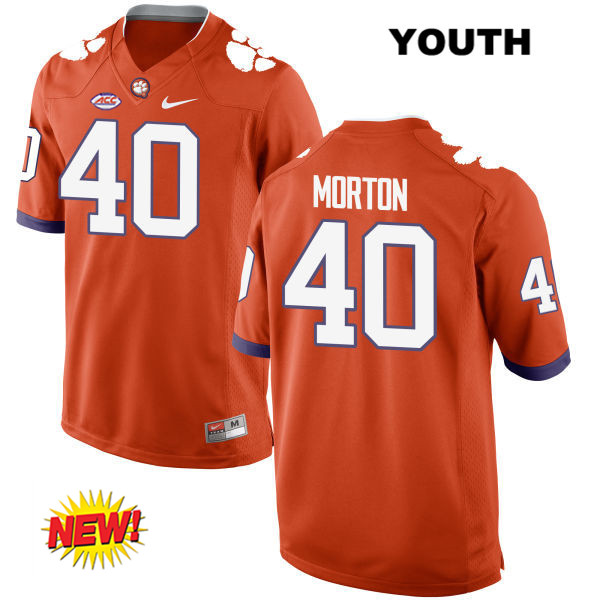 Hall Morton New Style Clemson Tigers Stitched no. 40 Youth Nike Orange Authentic College Football Jersey - Hall Morton Jersey