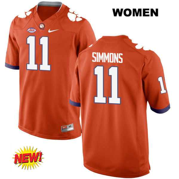 Isaiah Simmons Clemson Tigers Nike no. 11 Womens New Style Orange Stitched Authentic College Football Jersey - Isaiah Simmons Jersey