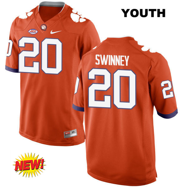 Jack Swinney Nike Clemson Tigers no. 20 New Style Youth Orange Stitched Authentic College Football Jersey - Jack Swinney Jersey