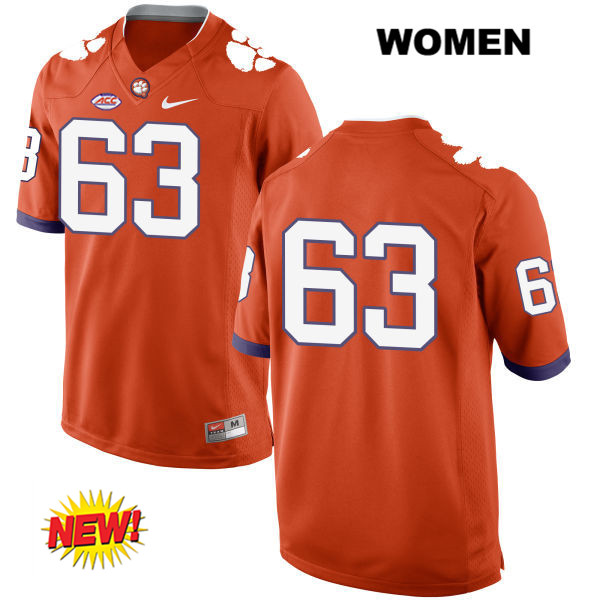 Nike Jake Fruhmorgen Stitched Clemson Tigers New Style no. 63 Womens Orange Authentic College Football Jersey - No Name - Jake Fruhmorgen Jersey