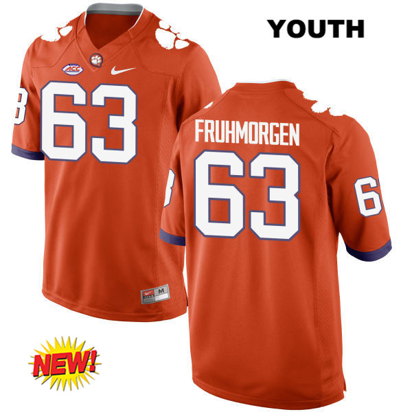 Stitched Jake Fruhmorgen New Style Clemson Tigers no. 63 Youth Orange Nike Authentic College Football Jersey - Jake Fruhmorgen Jersey