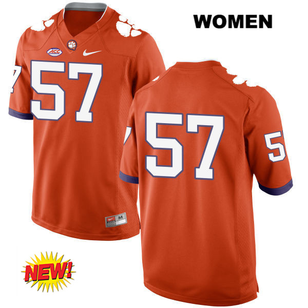 Jay Guillermo Clemson Tigers New Style no. 57 Womens Nike Orange Stitched Authentic College Football Jersey - No Name - Jay Guillermo Jersey