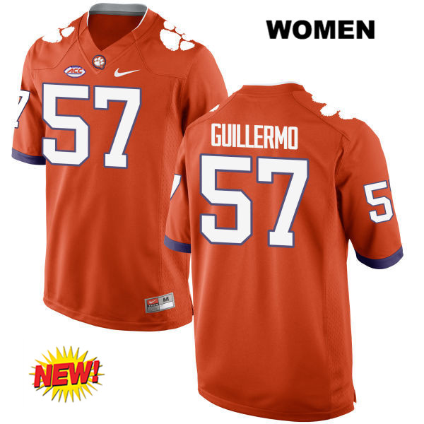 Jay Guillermo Clemson Tigers no. 57 Nike Womens Orange Stitched New Style Authentic College Football Jersey - Jay Guillermo Jersey