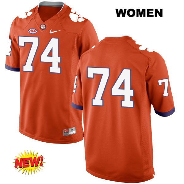 John Simpson Stitched Clemson Tigers no. 74 New Style Womens Nike Orange Authentic College Football Jersey - No Name - John Simpson Jersey