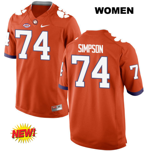 Nike John Simpson Clemson Tigers Stitched no. 74 New Style Womens Orange Authentic College Football Jersey - John Simpson Jersey