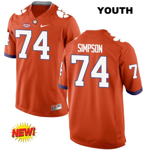 John Simpson New Style Clemson Tigers no. 74 Nike Youth Orange Stitched Authentic College Football Jersey - John Simpson Jersey