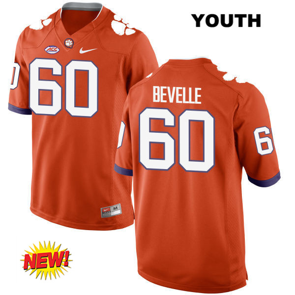 Nike Kelby Bevelle Clemson Tigers New Style no. 60 Youth Orange Stitched Authentic College Football Jersey - Kelby Bevelle Jersey