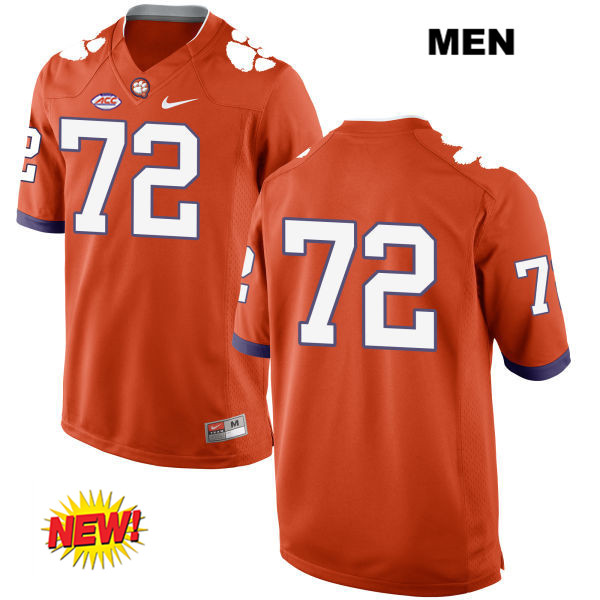 Logan Tisch Stitched Clemson Tigers no. 72 Nike Mens Orange New Style Authentic College Football Jersey - No Name - Logan Tisch Jersey