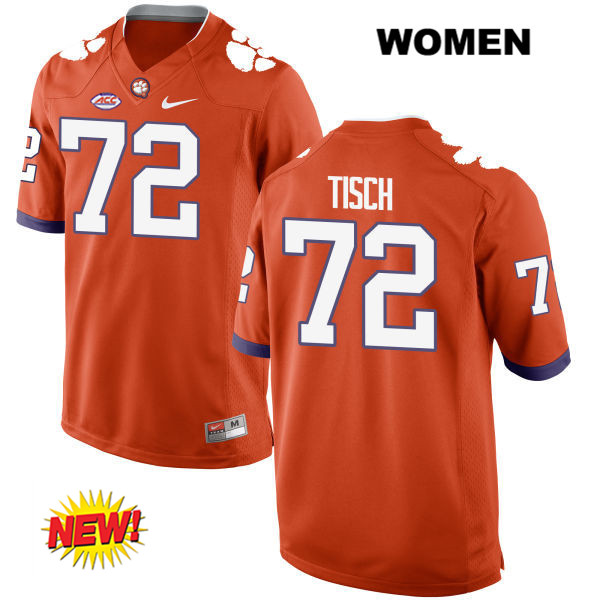 Logan Tisch Clemson Tigers Stitched no. 72 Womens Orange Nike New Style Authentic College Football Jersey - Logan Tisch Jersey