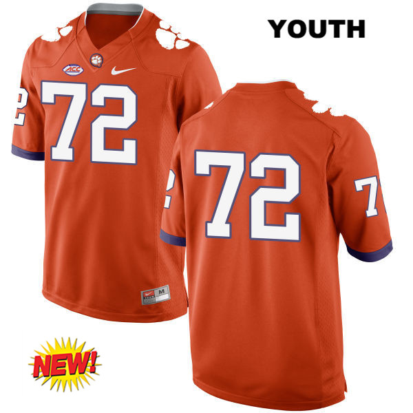 Logan Tisch Clemson Tigers no. 72 Stitched Youth Nike Orange New Style Authentic College Football Jersey - No Name - Logan Tisch Jersey