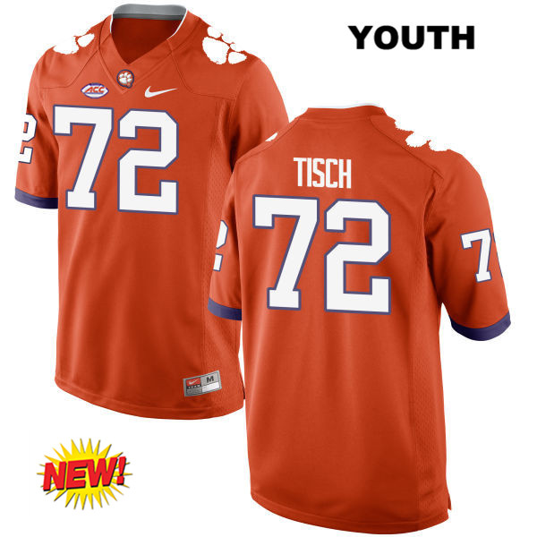Logan Tisch New Style Clemson Tigers Stitched no. 72 Nike Youth Orange Authentic College Football Jersey - Logan Tisch Jersey