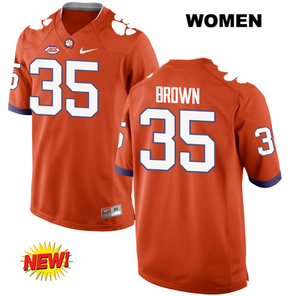 Nike Marcus Brown Clemson Tigers no. 35 Stitched Womens Orange New Style Authentic College Football Jersey - Marcus Brown Jersey