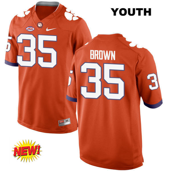 Marcus Brown Clemson Tigers no. 35 Nike Youth New Style Stitched Orange Authentic College Football Jersey - Marcus Brown Jersey