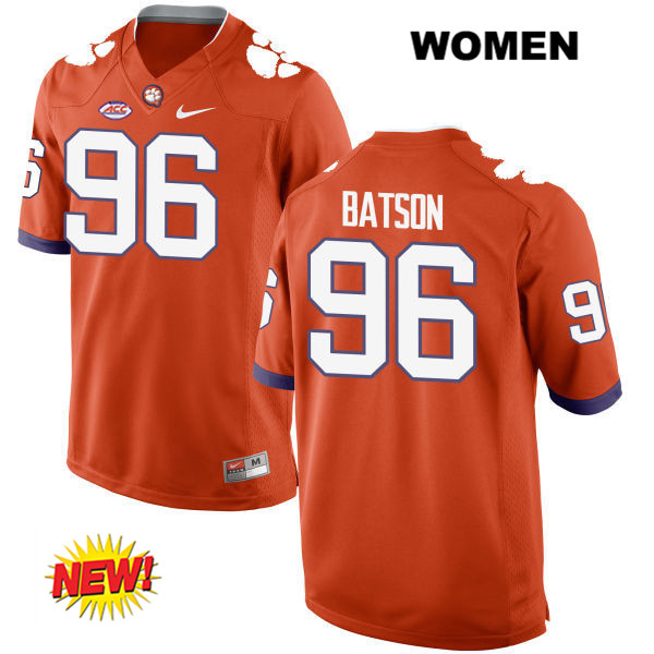 Michael Batson Clemson Tigers Nike no. 96 Womens Stitched Orange New Style Authentic College Football Jersey - Michael Batson Jersey