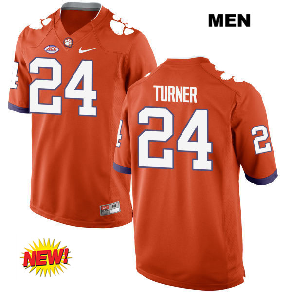 Nolan Turner Nike Clemson Tigers New Style no. 24 Mens Orange Stitched Authentic College Football Jersey - Nolan Turner Jersey