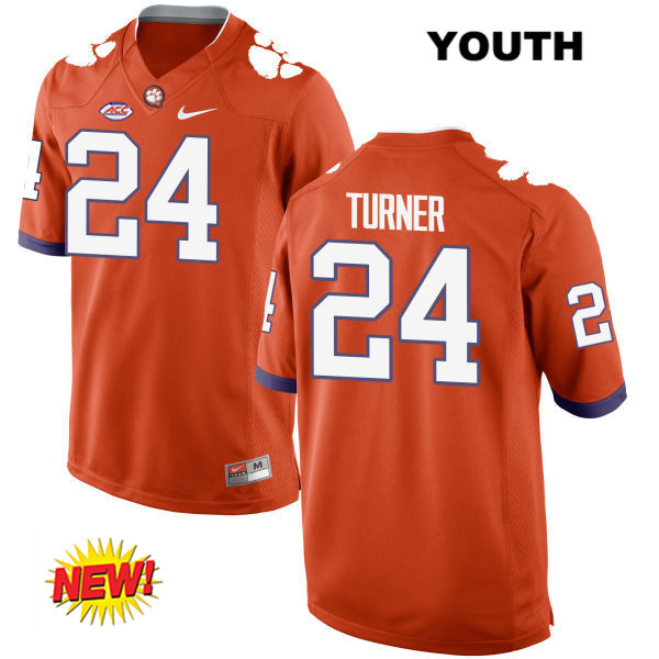 Nolan Turner Clemson Tigers no. 24 Nike Youth Stitched Orange New Style Authentic College Football Jersey - Nolan Turner Jersey