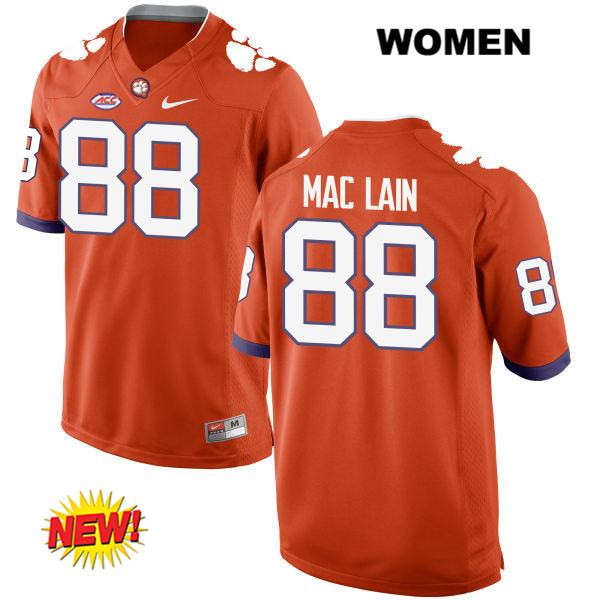 Sean Mac Lain Clemson Tigers New Style no. 88 Nike Womens Stitched Orange Authentic College Football Jersey - Sean Mac Lain Jersey