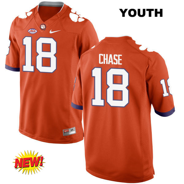 T.J. Chase Nike Clemson Tigers New Style no. 18 Youth Orange Stitched Authentic College Football Jersey - T.J. Chase Jersey