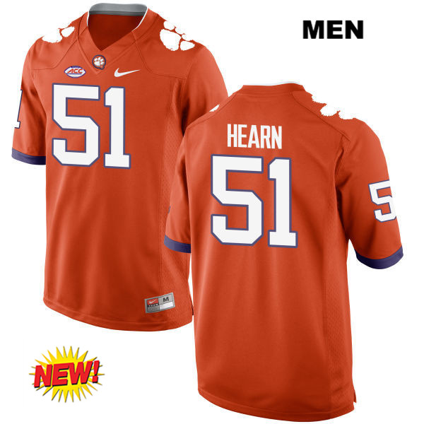 Stitched Taylor Hearn Clemson Tigers New Style no. 51 Mens Orange Nike Authentic College Football Jersey - Taylor Hearn Jersey