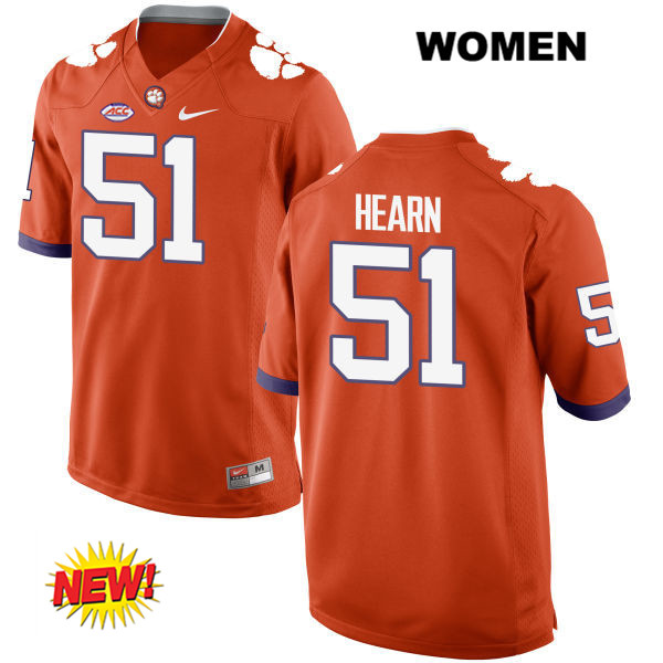 Taylor Hearn Clemson Tigers no. 51 Stitched Womens New Style Orange Nike Authentic College Football Jersey - Taylor Hearn Jersey