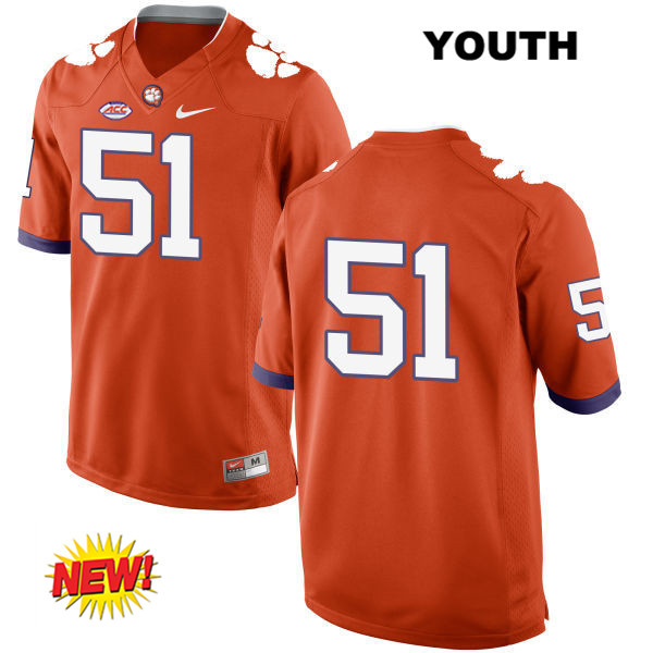 Taylor Hearn Clemson Tigers no. 51 Stitched Youth New Style Orange Nike Authentic College Football Jersey - No Name - Taylor Hearn Jersey