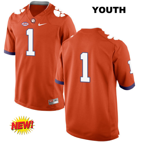 Nike Trayvon Mullen Clemson Tigers no. 1 New Style Youth Orange Stitched Authentic College Football Jersey - No Name - Trayvon Mullen Jersey