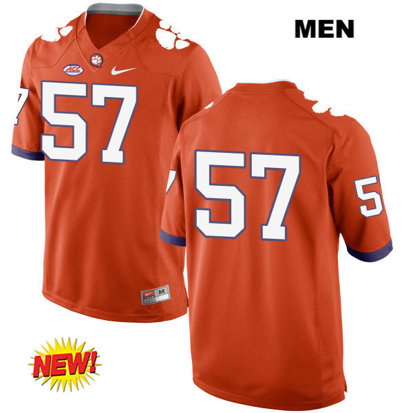 Tre Lamar New Style Clemson Tigers Nike no. 57 Mens Orange Stitched Authentic College Football Jersey - No Name - Tre Lamar Jersey