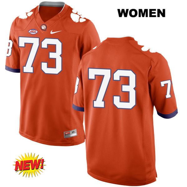 Tremayne Anchrum Clemson Tigers Nike no. 73 New Style Womens Orange Stitched Authentic College Football Jersey - No Name - Tremayne Anchrum Jersey