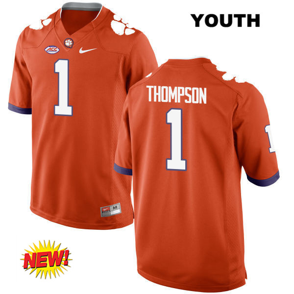 Trevion Thompson Clemson Tigers Nike no. 1 Stitched New Style Youth Orange Authentic College Football Jersey - Trevion Thompson Jersey