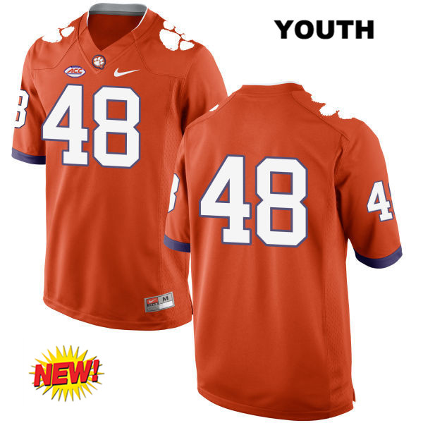 Nike Will Spiers Clemson Tigers Stitched no. 48 Youth New Style Orange Authentic College Football Jersey - No Name - Will Spiers Jersey