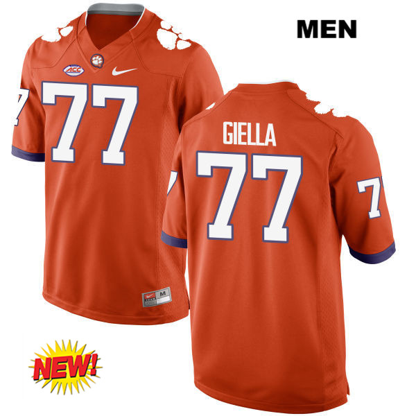 Zach Giella Clemson Tigers Nike Stitched no. 77 Mens New Style Orange Authentic College Football Jersey - Zach Giella Jersey