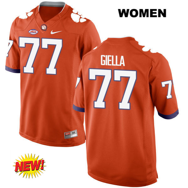 Zach Giella Clemson Tigers Stitched no. 77 Womens New Style Nike Orange Authentic College Football Jersey - Zach Giella Jersey