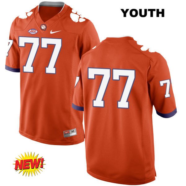 Zach Giella Clemson Tigers Stitched no. 77 New Style Nike Youth Orange Authentic College Football Jersey - No Name - Zach Giella Jersey