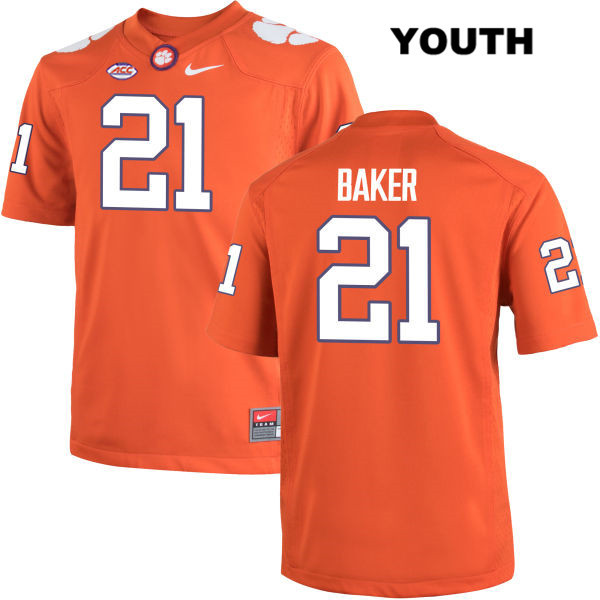 Adrian Baker Clemson Tigers no. 21 Stitched Youth Nike Orange Authentic College Football Jersey - Adrian Baker Jersey