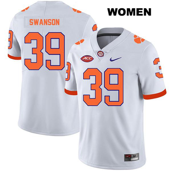 Legend Aidan Swanson Nike Clemson Tigers no. 39 Womens Stitched White Authentic College Football Jersey