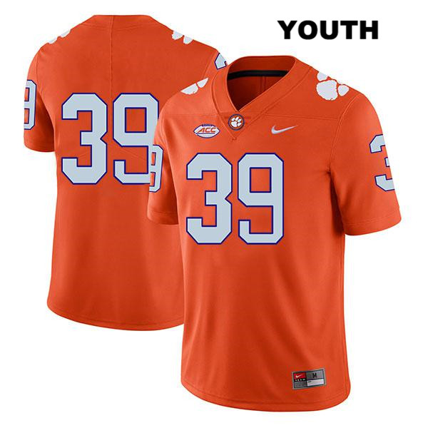 Aidan Swanson Clemson Tigers Legend no. 39 Stitched Youth Nike Orange Authentic College Football Jersey - No Name - Aidan Swanson Jersey